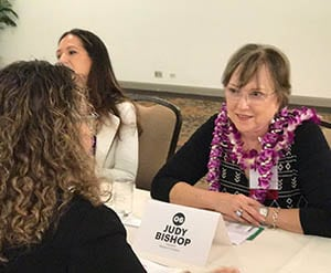 Judy mentoring a business woman at Pacific Business News' #Bizwomen event
